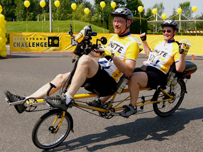 The only tandem recumbent in the Lance Armstrong -  Livestrong Challenge in Portland, OR