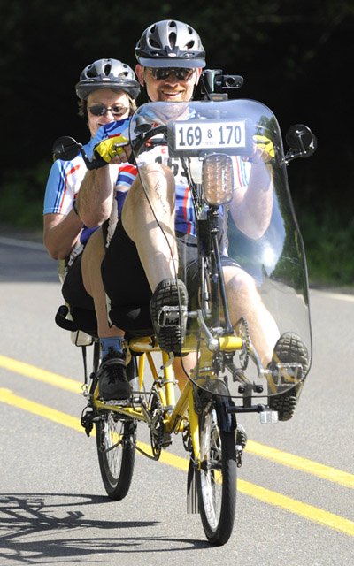 "Our tandem recumbent bike was an unusual sight riding in ""Reach the Beach"""