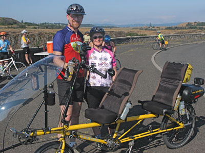 "Our ""Rans Screamer"" tandem recumbent on a beautiful ride in the Columbia River Gorge"